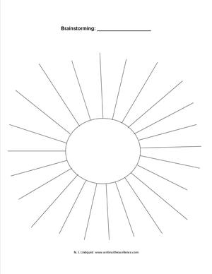 Sun circle brainstorming sheet
